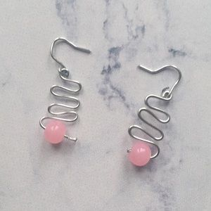 Pink bead spiral design sterling silver earrings
